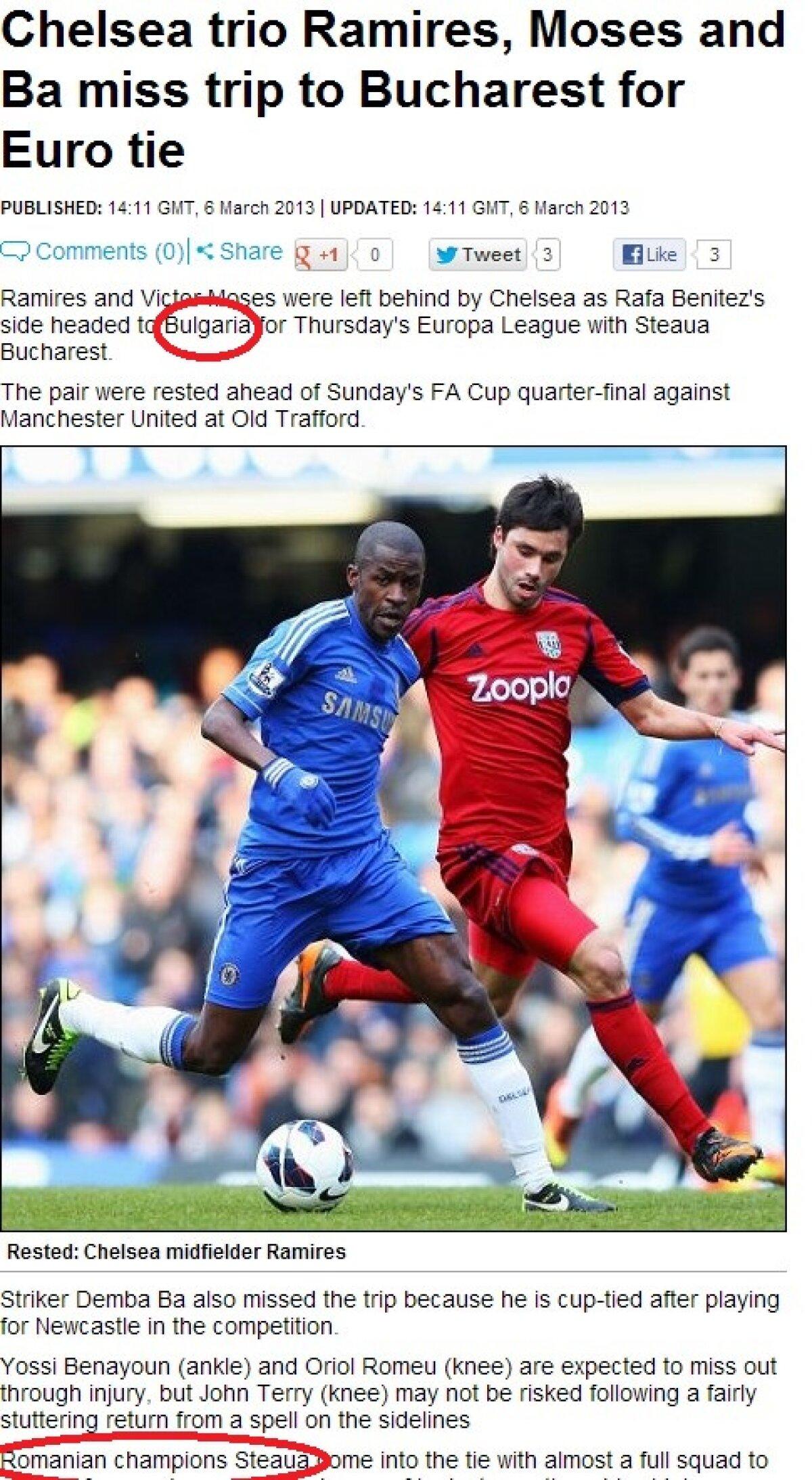 """FOTO Englezii se fac de rîs! » """"Ramires şi Moses nu au făcut deplasarea în Bulgaria"""""""