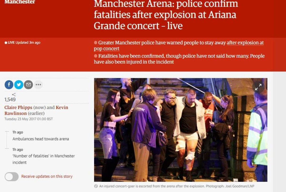 UPDATE VIDEO + FOTO Explozii la Manchester Arena: 22 persoane decedate și 59 rănite! + Alt incident la un mall