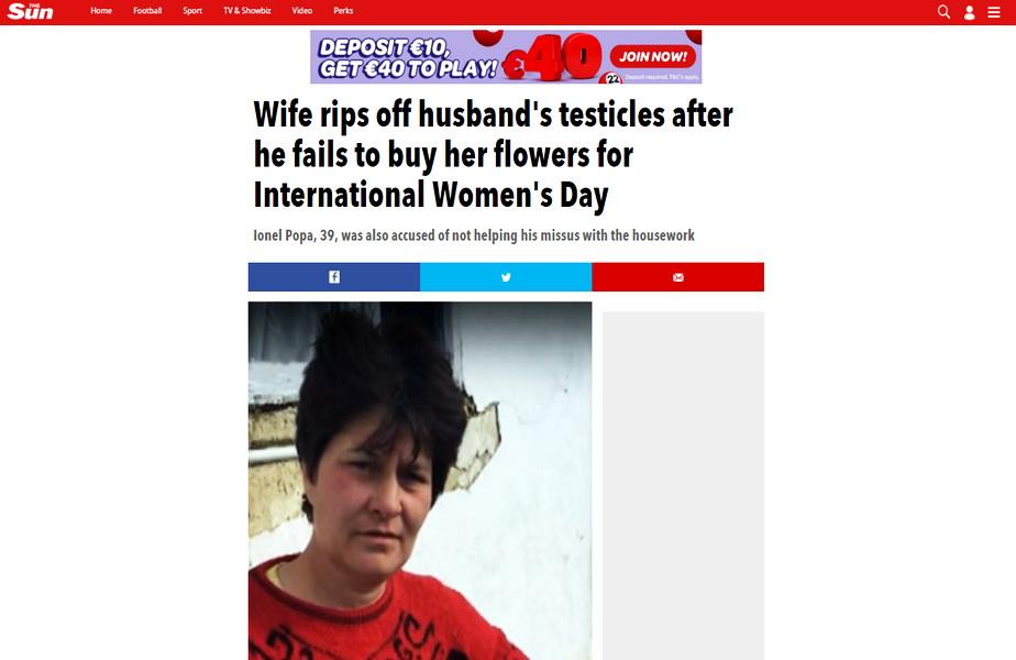 Femeia care i-a smuls un testicul soţului fiindcă nu i-a adus flori de 8 Martie, în publicaţia The Sun