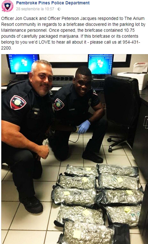 Anunț ciudat al poliției din Florida: Se caută proprietarul unei valize cu marijuana abandonată