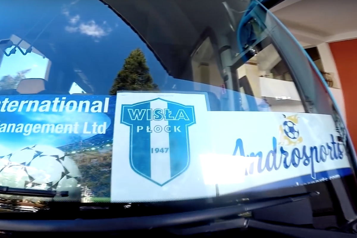 wisla plock bus in cyprus with androsports logo