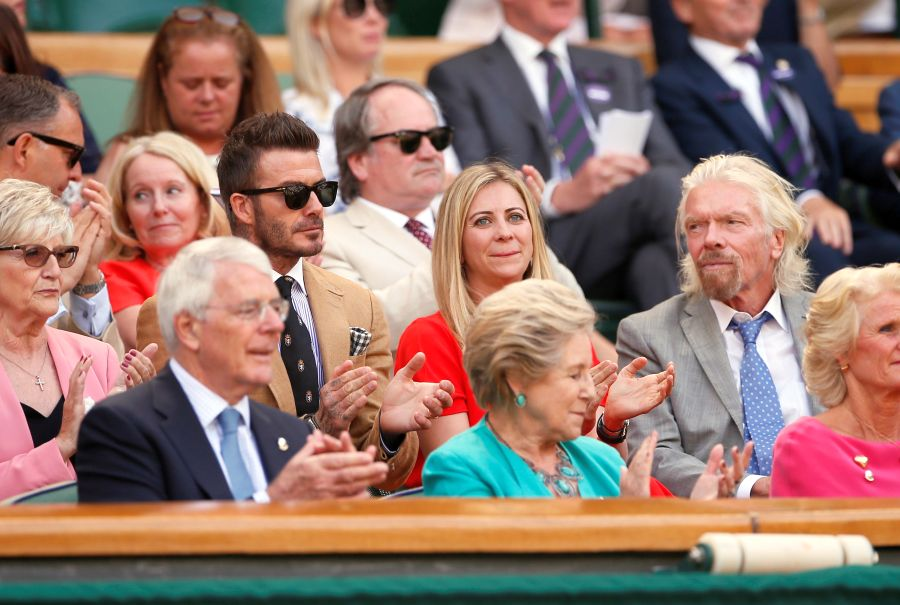 Sandra Beckham, David Beckham, Holly Branson, Richard Branson, John Major și Norma Major