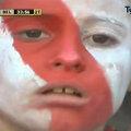 O tînără fană a lui River Plate, surprinsă după golul egalizator al lui Belgrano