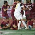 Problemele au început după ce Cadu i-a provocat pe fanii gazdă imediat ce a marcat din penalty