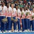 Dream-Team-ul care a luat aurul la JO 1992, 117-85 în finala cu Croația. Coșaverajul, plus 32, a fost cel mai mic din cele 8 meciuri disputate la Barcelona