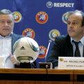 Tot ieri, Mircea Sandu (stînga) şi Platini au ales gazdele finalelor Ligii din 2015 şi 2016: Berlin şi Milano