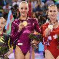 Andreea Iridon (prima din stînga), pe podium la Baku