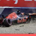 Momentul în care Daniil Kvyat se opreşte cu maşina sa în zid, în ultimele minute ale primului tur din califări // FOTO AFP