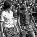 Liță Dumitru și Johan Cruyy în septembrie 1977, pe Ghencea, înainte de Steaua - Barcelona din Cupa UEFA