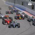 Momentul în care Valtteri Bottas țâșnește la start și îi depășește pe cei doi piloți Ferrari de pe prima linie // FOTO Reuters