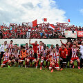 Peste 300 de suporteri veniți de la Sf. Gheorghe au sărbătorit cu jucătorii promovarea în prima Ligă// Foto Raed Krishan