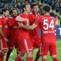 Paul Papp celebrează alături de colegi golul prin care Sivasspor a deschis scorul. Avantajul echipei sale avea să fie ulterior remontat // FOTO: Twitter Sivasspor