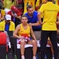 Simona Halep, după înfrângerea din meciul de dublu // FOTO: Raed Krishan
