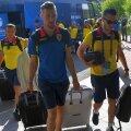 Jucătorii lui Mirel Rădoi au ajuns la hotelul unde vor fi cazați în Bologna // FOTO: Raed Krishan
