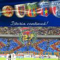 Sus, banner de pe contul oficial de Facebook al CSA Steaua. Jos, banner al suporterilor FCSB la un meci pe Arena Națională