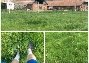 """FOTO Se întâmplă în România » Mingea a dispărut în iarbă: """"Trebuia să jucăm ca la fotbalul pe plajă"""" :D"""
