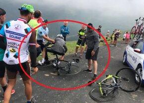 TURUL FRANȚEI. Nou scandal în Turul Franței: Chris Froome, izbit de un jandarm! + imagini șocante cu un spectator și tricoul galben