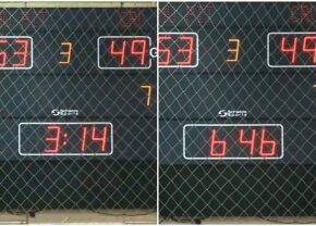 FOTO NEVEROSIMIL! Partida dintre Pitești și Craiova, din prima ligă de baschet, a durat mai mult cu 3 minute și 32 secunde