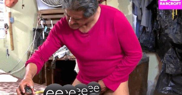 Naketano Tricou 'I Love My Penis' maro / gri amestecat