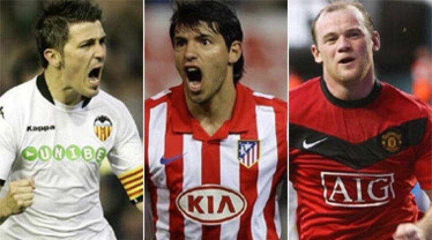 Kun Aguero, David Villa, Wayne Rooney