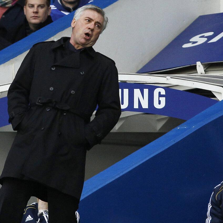 După un sezon bun, cu titlu şi Cupa Angliei cîştigate, Ancelotti suferă pe banca lui Chelsea Foto: Reuters