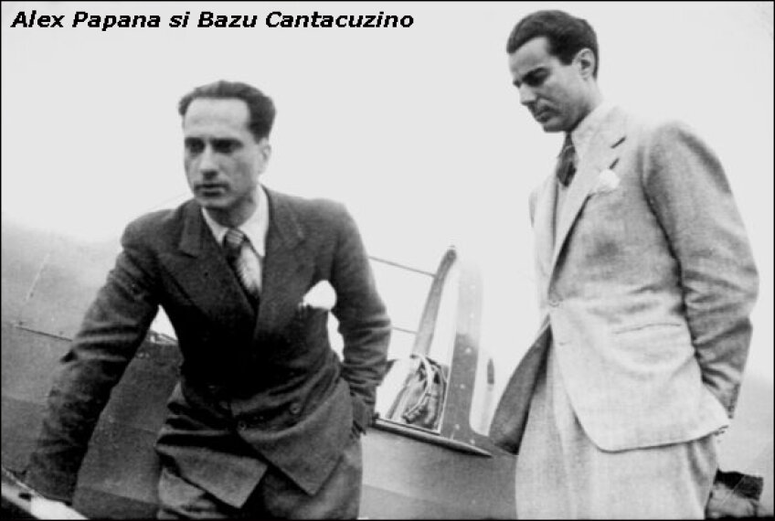 Doi aviatori uriasi. Papana (stînga) și Cantacuzino
