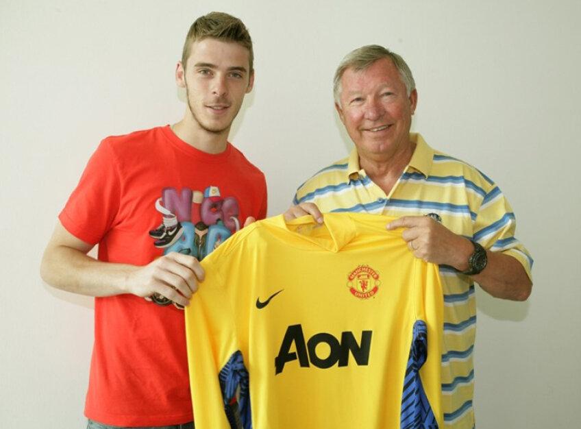 David De Gea (în stînga), alături de Sir Alex Ferguson