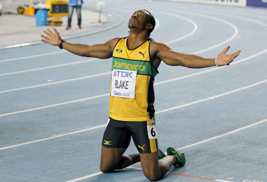 Yohan Blake, după ce a cucerit titlul mondial la 100 metri, la Daegu (foto: Reuters)
