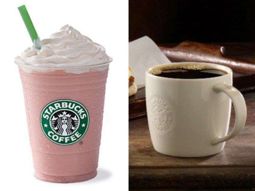 Frappucino vs cafea neagra sursa foto: shine.com
