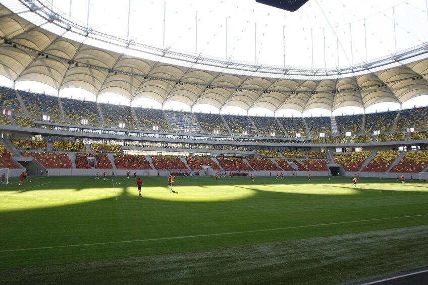 Antrenamentul echipei reprezentative pe stadionul Național