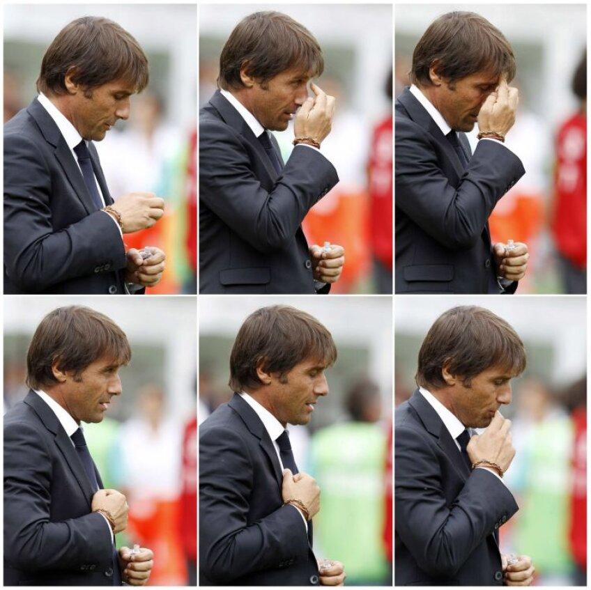 Conte și ritualul său religios dinaintea meciurilor. FOTO Reuters