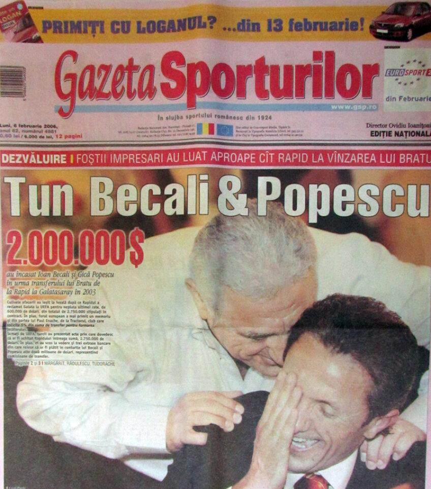 Prima pagină a Gazetei din 6 februarie 2006, cînd a izbucnit