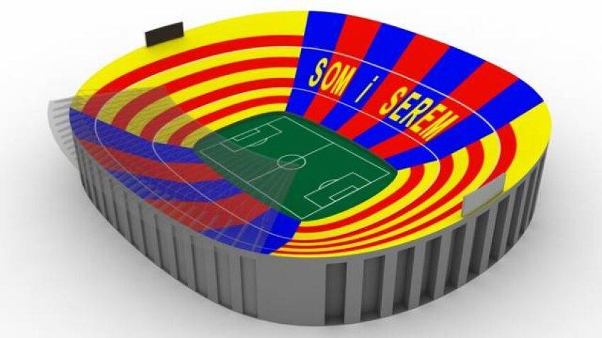 Așa va arăta mozaicul pe care-l vor crea suporterii Barcelonei (foto: fcbarcelona.es)