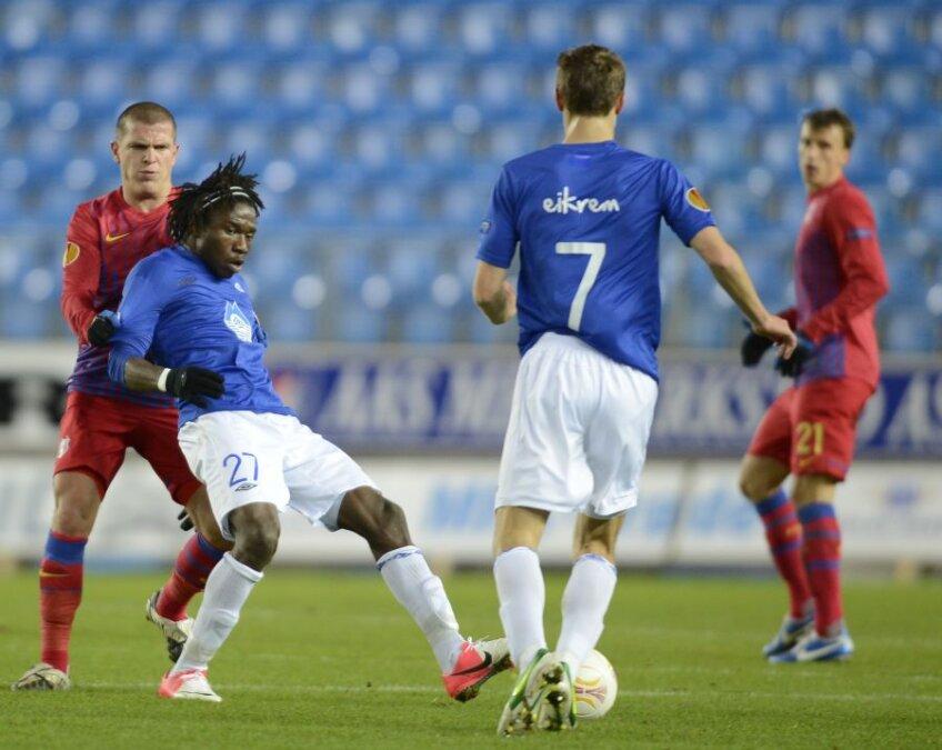 Chima (stînga) a înscris golul norvegienilor în Molde - Steaua 1-2