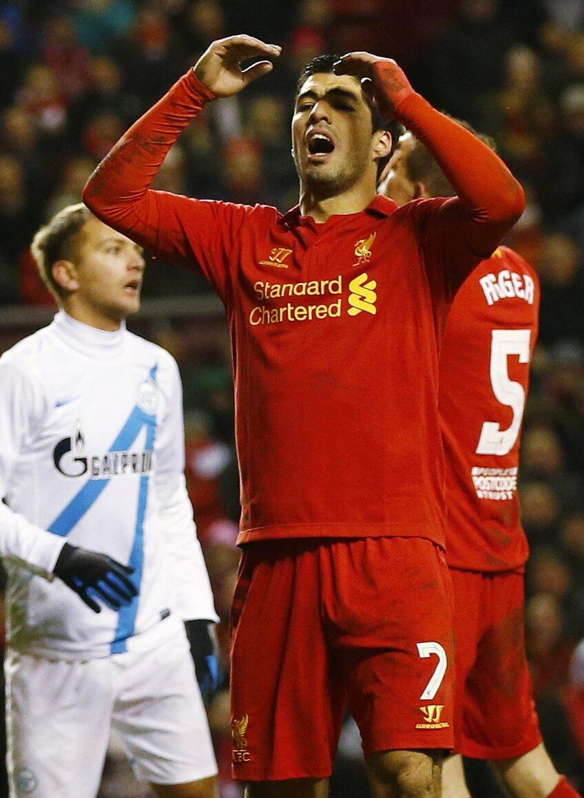 Luis Suarez a marcat de două ori în returul cu Zenit. Insuficient (foto: Reuters)