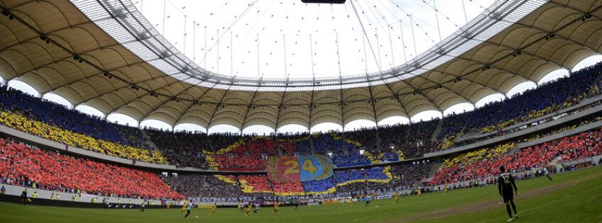 50.000 de stelişti au realizat o coregrafie excepţională, tot stadionul a creat tricolorul ţării, iar în una dintre peluze a fost conturată graniţa României în interiorul căreia a stat scris 24