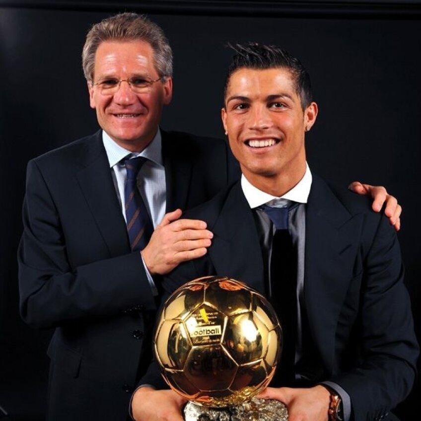 Un portughez şi un român fericiţi. Ronaldo şi Boloni în 2008, cu Balonul de Aur
