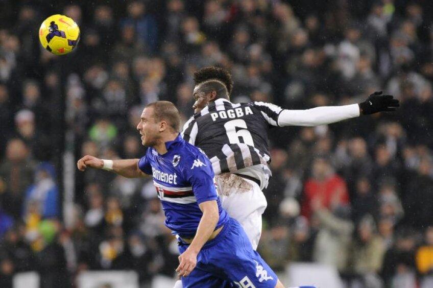 Pogba (dreapta, în duel cu De Silvestri) a reușit al șaselea gol în acest campionat, cu încă o