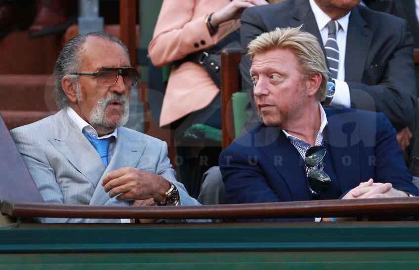 Ion Ţiriac, alături de germanul Boris Becker, în loja sa de la Paris. Actualul antrenor al lui Djokovici, a fost antrenat şi manageriat de român în cariera sa