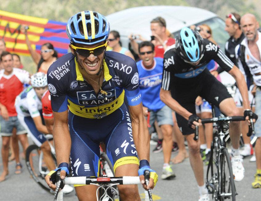 Alberto Contador, prim-plan, și Chris Froome, foto: reuters