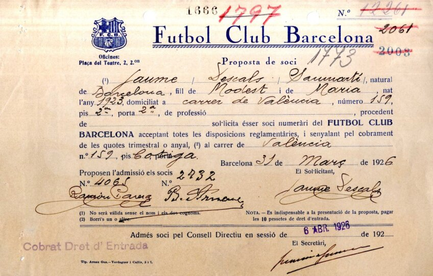 Așa arată cererea de a deveni socio. Carnetul l-a primit pe 31 martie 1929