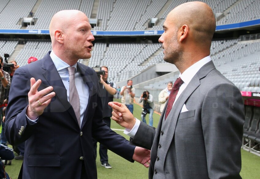 Sammer, stînga, și Guardiola colaborează din 2013, de la sosirea catalanului pe banca lui Bayern