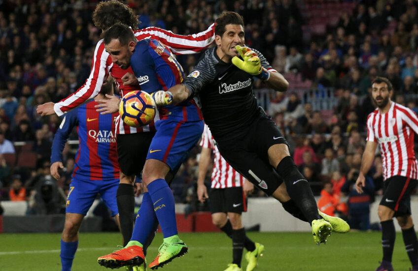 La poarta lui Gorka Iraizoz a fost destul deranj, Paco Alcacer reușind primul gol al Barcei