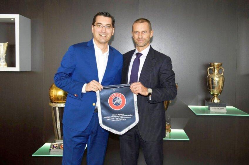 Răzvan Burleanu și Aleksander Ceferin, președintele UEFA // FOTO: frf.ro