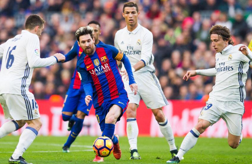 Messi, încercuit de trei madrileni, a jucat tot meciul în decembrie trecut, în derbyul terminat 1-1 // Foto: Guliver/GettyImages