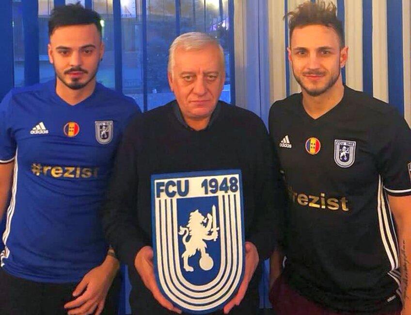 FOTO: Facebook Universitatea Craiova, stânga Robert Văduva, centru Marcel Iancu, președintele clubului, dreapta Sorin Mogoșanu