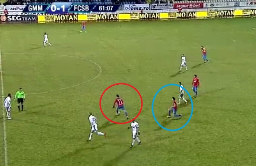 Cercul roșu - locul de unde s-a executat lovitura liberă, cercul albastru - locul unde s-a produs faultul // Captură TV Digi Sport