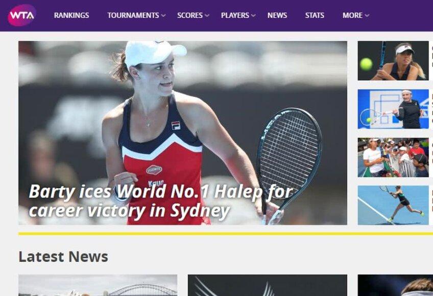 Captură de pe site-ul WTA