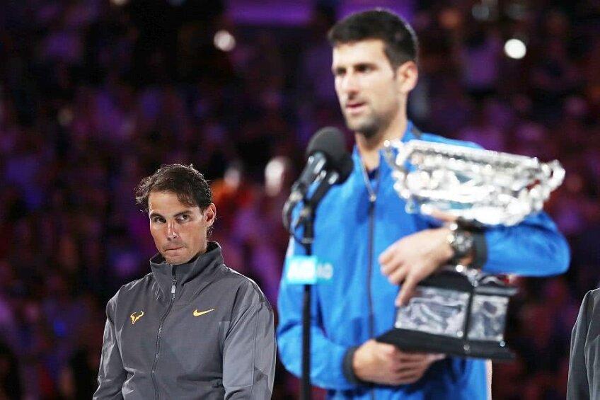Rafael Nadal și Novak Djokovic la festivitatea de premiere de la Australian Open, foto: Guliver/gettyimages