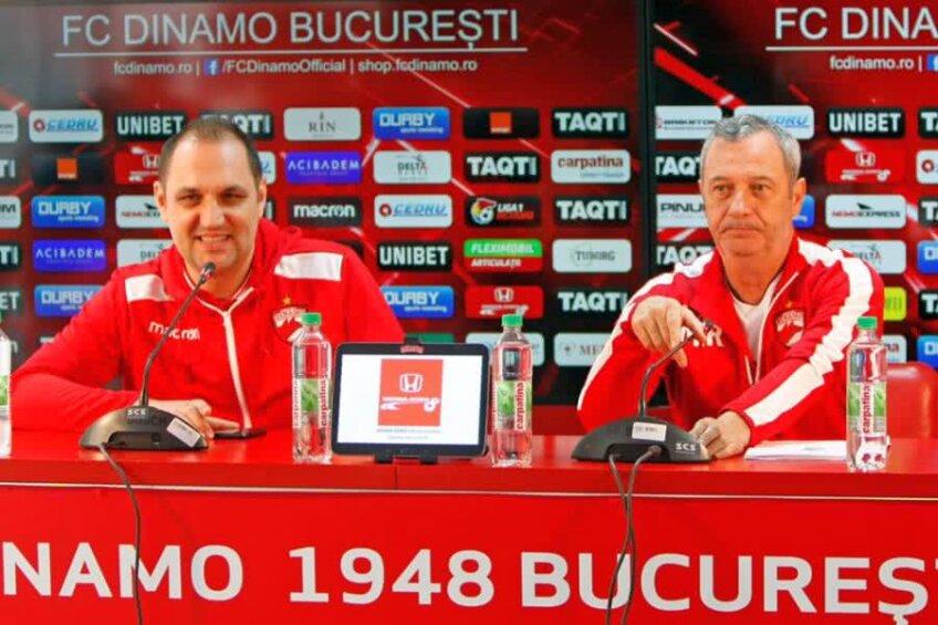 Ionel Culina (stânga) la o conferință de presă alături de Mircea Rednic
